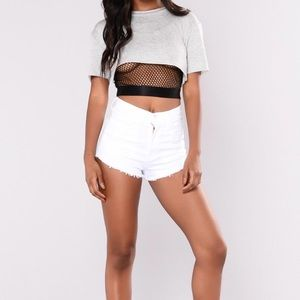 ✨Fashion Nova Summer Fling Denim Shorts - White✨